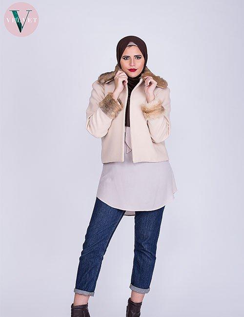 Real Fur Blazer (Beige)