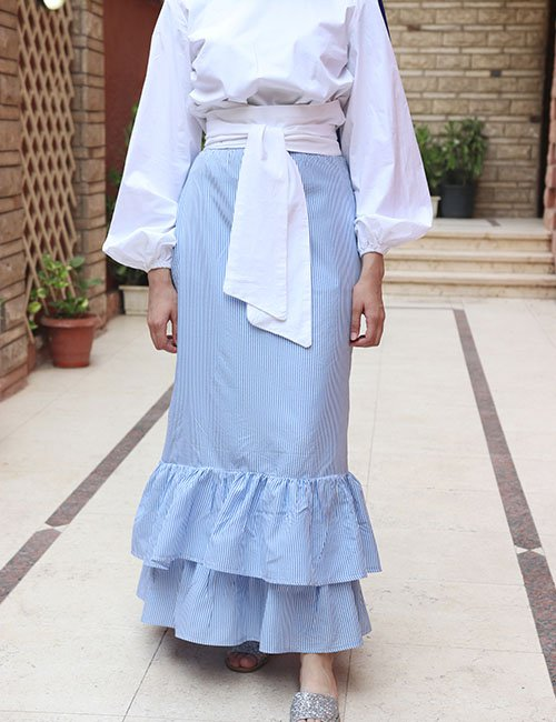 Blue Strips ruffles skirt