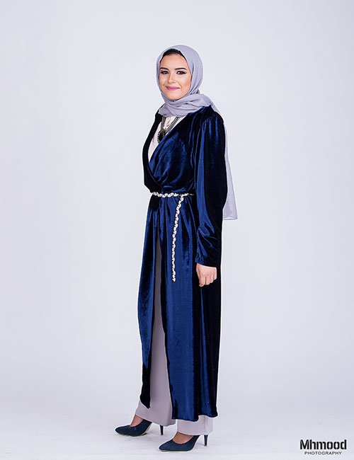 Velvet slit dress (Blue)