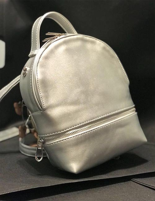 Mini silver leather 2×1 backpack/cross bag