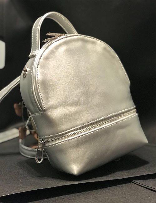 Mini silver leather 2×1 backpack/cross bag