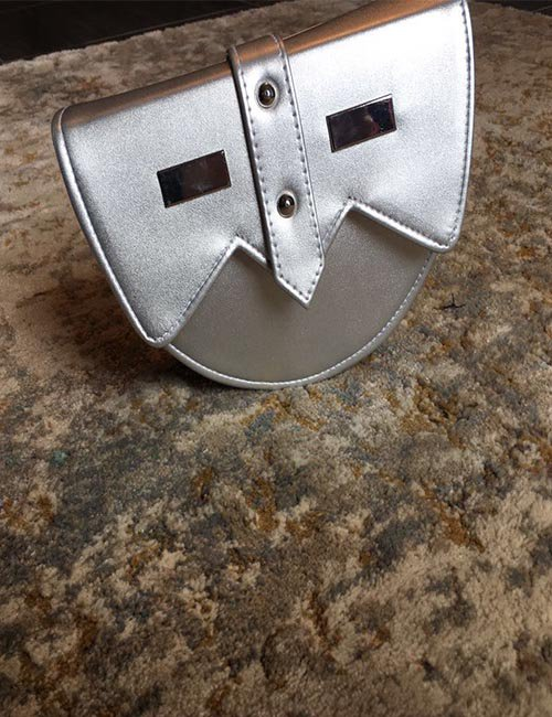 Silver leather belt bag