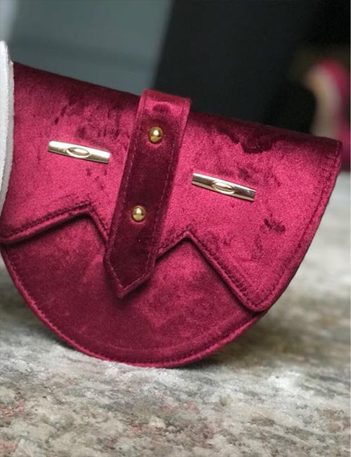 Velvet maroon belt bag