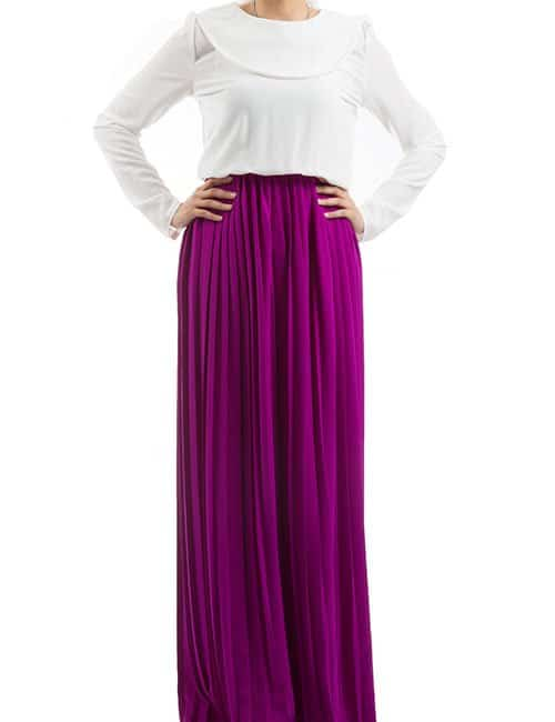ACCORDION PLEATED DRESS – PURPLE & WHITE
