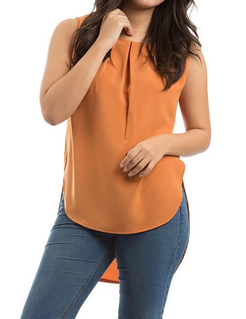 BOX PLEAT BLOUSE – ORANGE