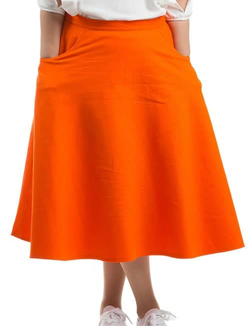 COZY DENIM SKIRT – ORANGE