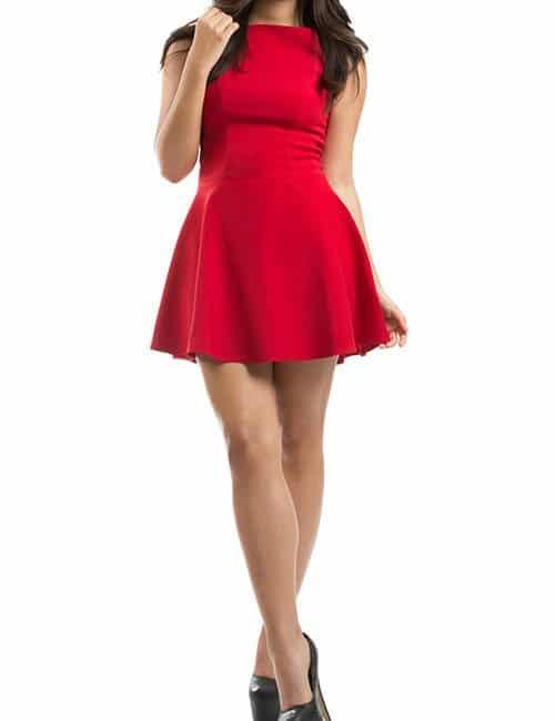 FLARED MINI DRESS – RED