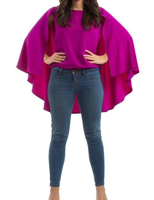 SUPER-CAPE BLOUSE – FUCHSIA