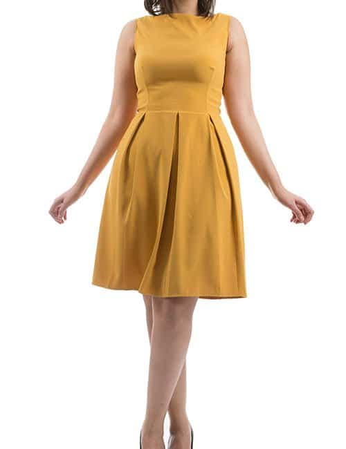 THE ROYAL PLEATED DRESS – MUSTARD