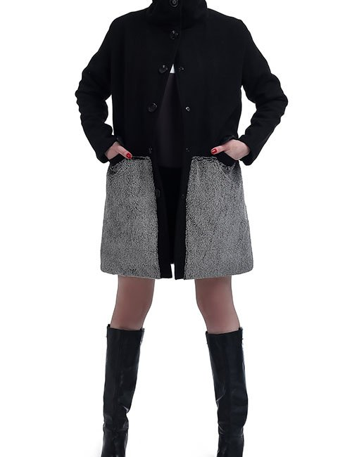 WOOL FUR COAT – BLACK