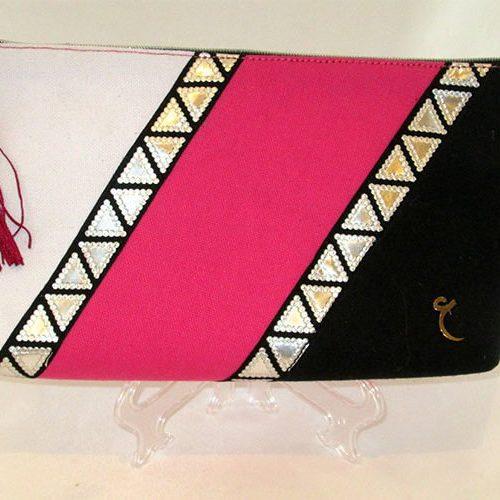 Pink Black white clutch