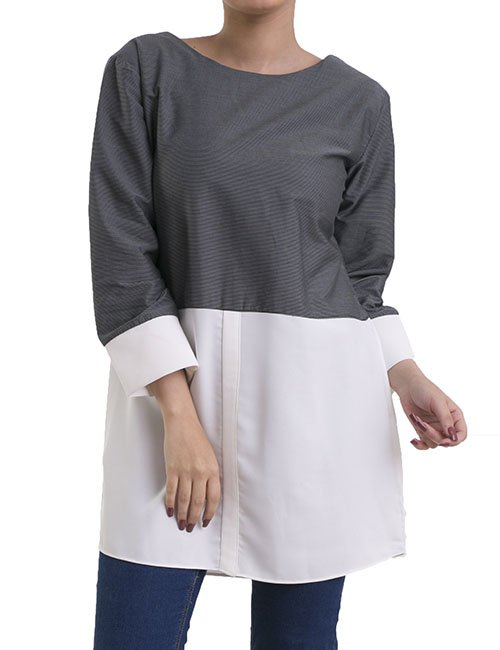 BUTTONLESS CHEMISE -LONG SLEEVES- WHITE & GREY