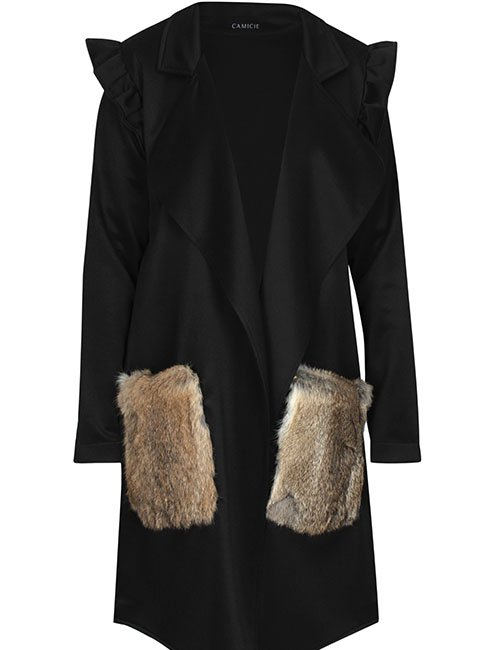 1967 Special Edition Tilted Fur Pocket Coat Black (Free size)