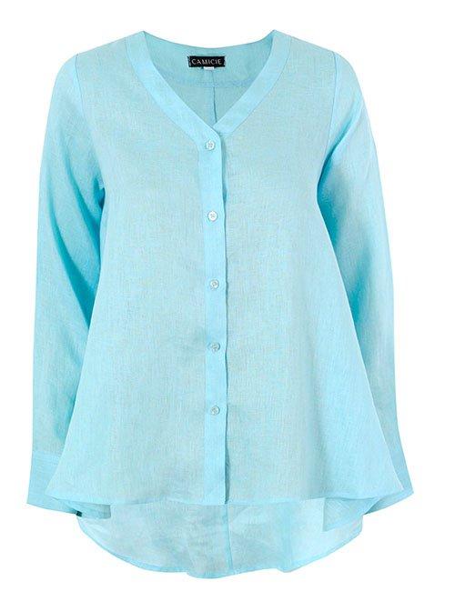 Wavy Linen Shirt, Aqua