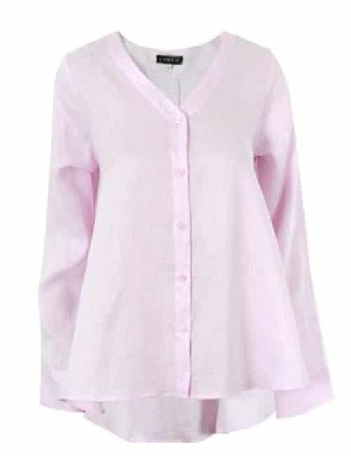 Wavy Linen Shirt, Pink