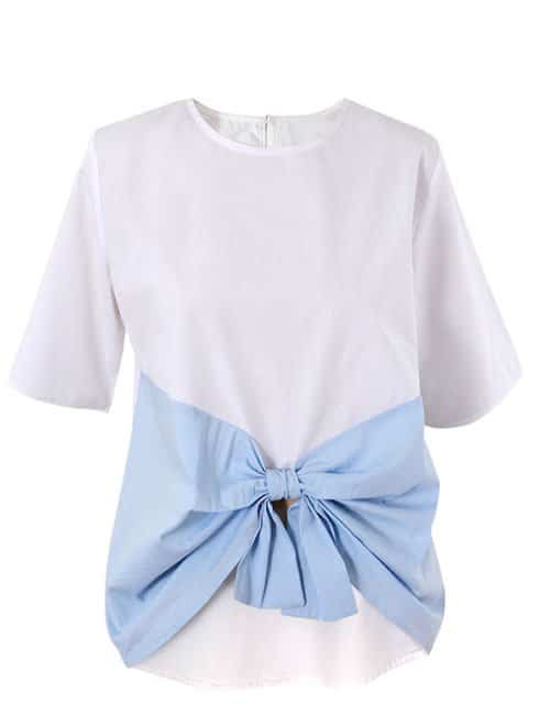 Light cotton top with blue bow