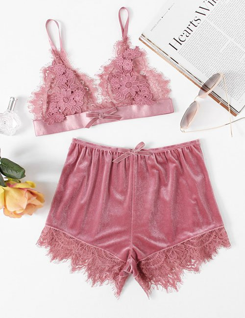 Home Tops Lingerie & Sleepwear Sexy Applique Detail Lace Bralette & Velvet Shorts Set