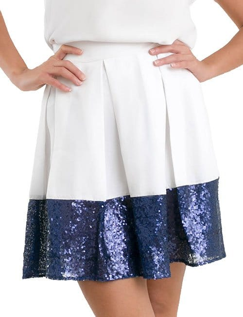 SHORT SEQUIN TRIM SKIRT – WHITE