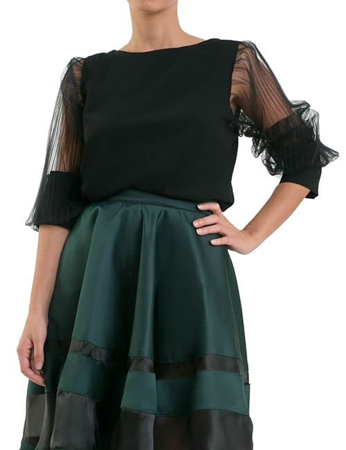 ACCORDION SLEEVES BLOUSE – BLACK