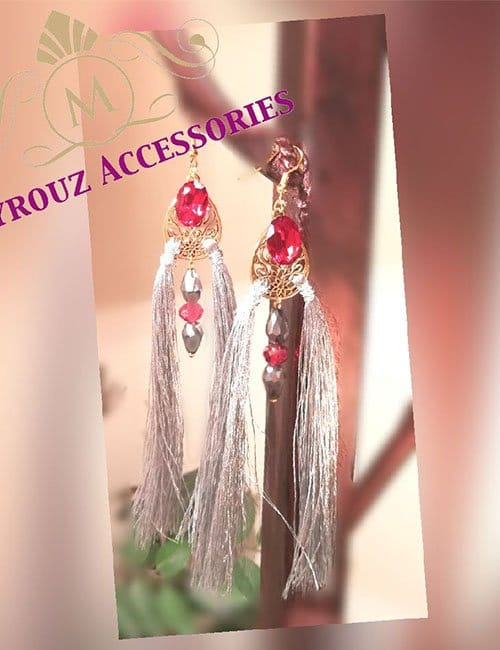 Earring with red beads