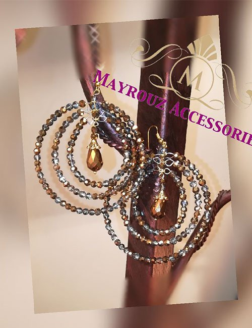 Beads circle earrings