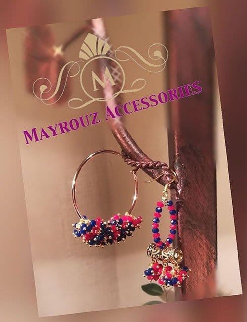 Blue pink earrings