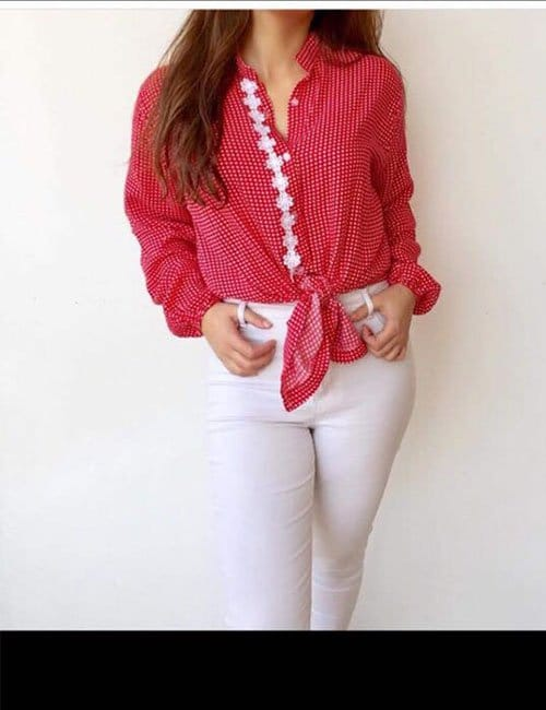 Tied Up Red Blouse