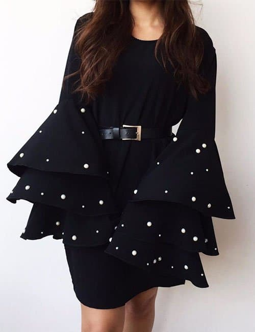 Pearl Ruffle sleeves Dress
