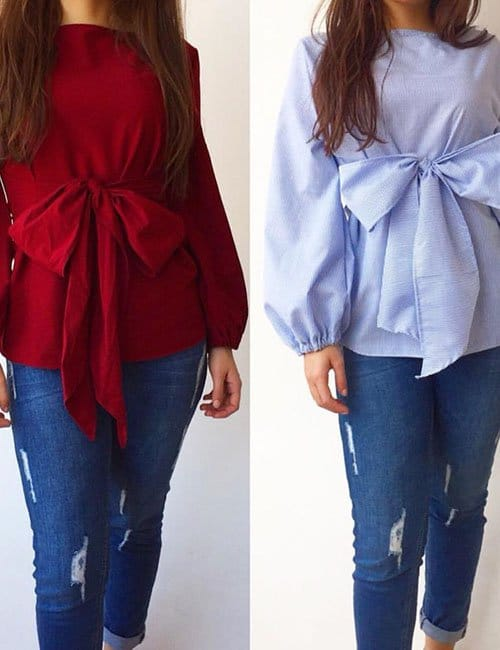 Long Sleeves Bow Blouse