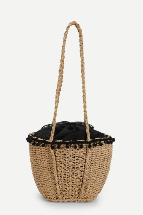 Contrast Trim Straw Tote Bag