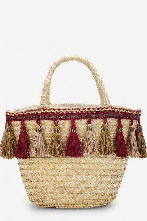 Tassel Detail Straw Bucket Bag