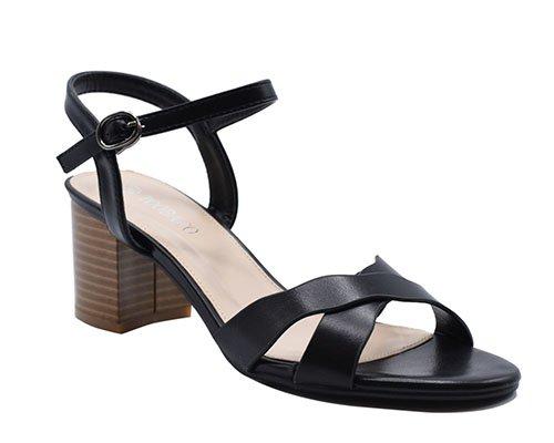 Cross strappy leather block heels sandals