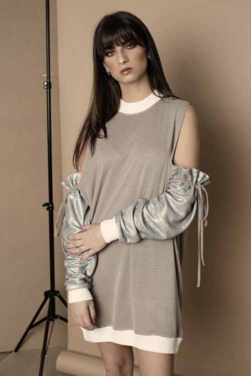 Silver Sequin Sleeves Dress