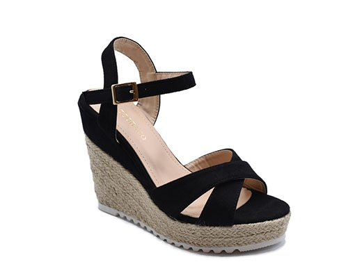 High wedge velvet sandal