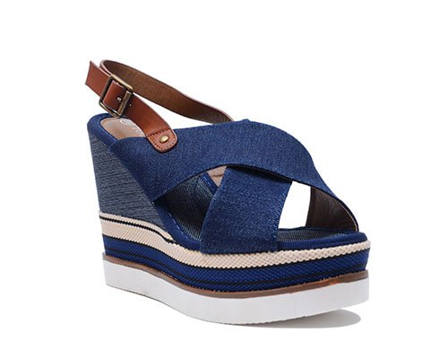 Jeans high wedge sandal