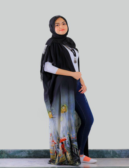 Printed Black Kaftan