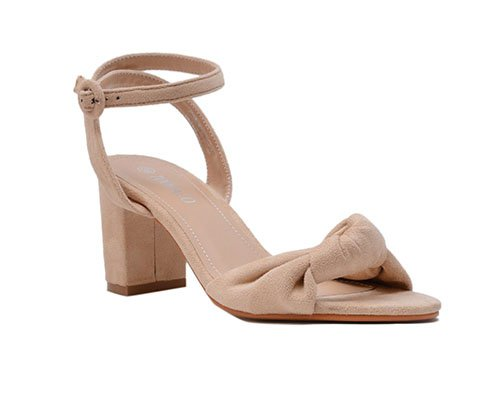Medium block heels knob velvet sandls