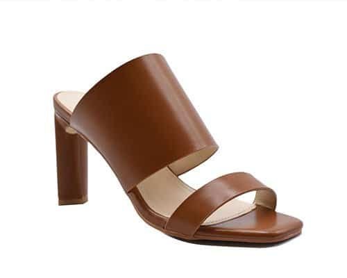 High block leather sandals
