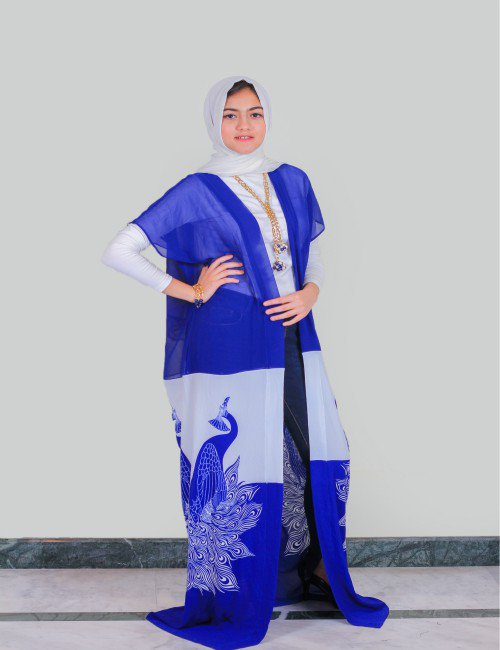 Peacock  Royal Blue Kaftan
