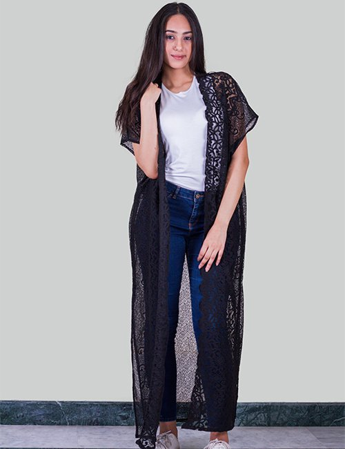 Black lace Long Cardigan