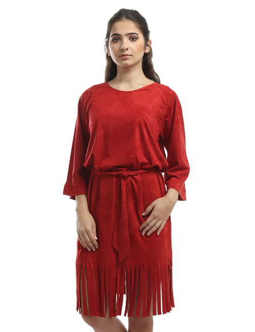 Suede Fringed Dress
