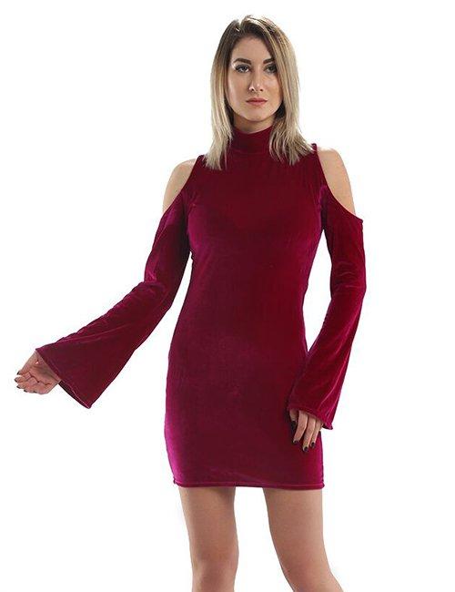 Velvet Cold-Shoulder Dress