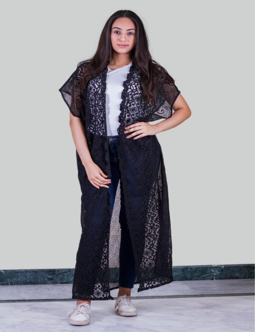 Black lace Long Cardigan (Copy)