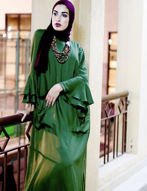 Green Double Ruffle Dress