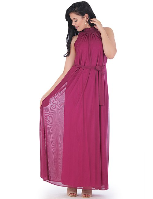 Soft Tulle Lycra Maxi Dress With Linning