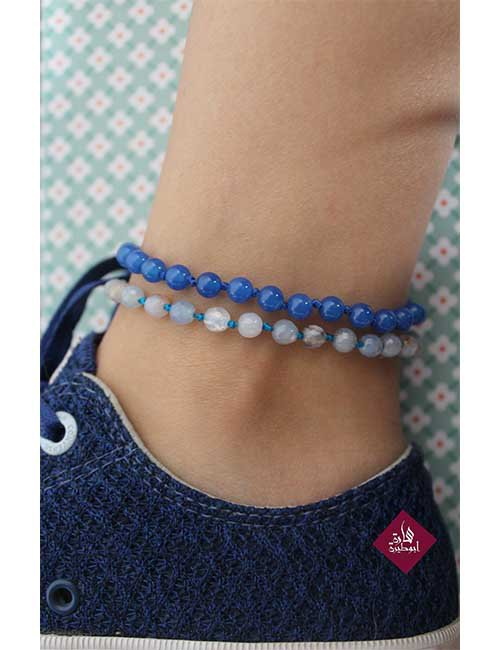 Agate silver anklet