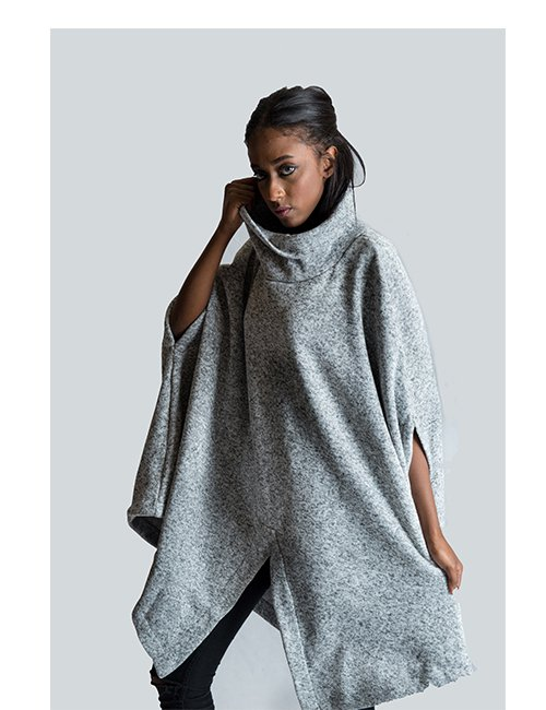 High-neck Poncho