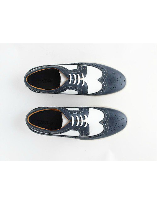 WHITE-NAVY WINGTIP