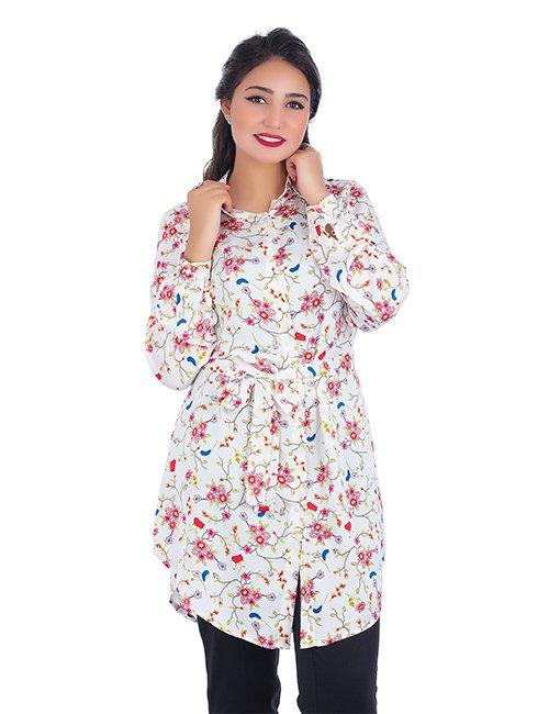Flower Print Dress Shirt With Belt