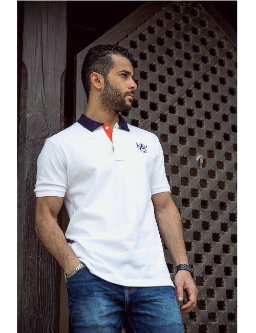 White With Navy Collar Polo Shirt